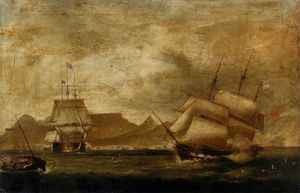 William John Huggins - A Man-of-war And An East Indiaman In Table Bay