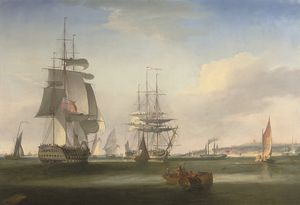 William John Huggins - Shipping In The Thames Off Gravesend