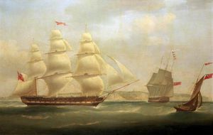 William John Huggins - The East Indiaman 'roxburgh Castle' With The Ship 'sir Edward Paget' Off Dover
