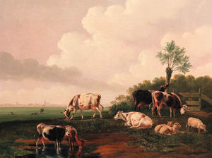Albertus Verhoesen - Cattle And Sheep By A Pond; And Travellers On A Country Road