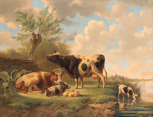 Albertus Verhoesen - Cattle, Sheep And A Goat By A River
