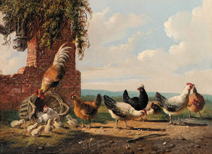 Albertus Verhoesen - Rooster And Chickens In A Landscape By A Ruin; And Rooster And Chickens By A Ruin