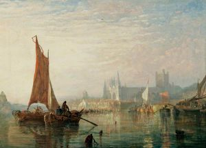 Alfred George Stannard - River Scene With Peterborough Cathedral In The Distance