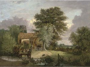 Order Art Reproductions | A Wooded Landscape With Figures In A Cart Crossing A Ford, A Cottage And Ruined Tower Beyond by Alfred Stannard (1806-1889, United Kingdom) | WahooArt.com