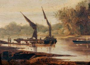Order Museum Quality Copies | Barges On The Thames by Alfred Stannard (1806-1889, United Kingdom) | WahooArt.com