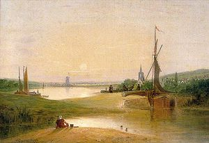 Alfred Stannard - River Scene With Lock