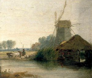 Alfred Stannard - River Scene With Mill