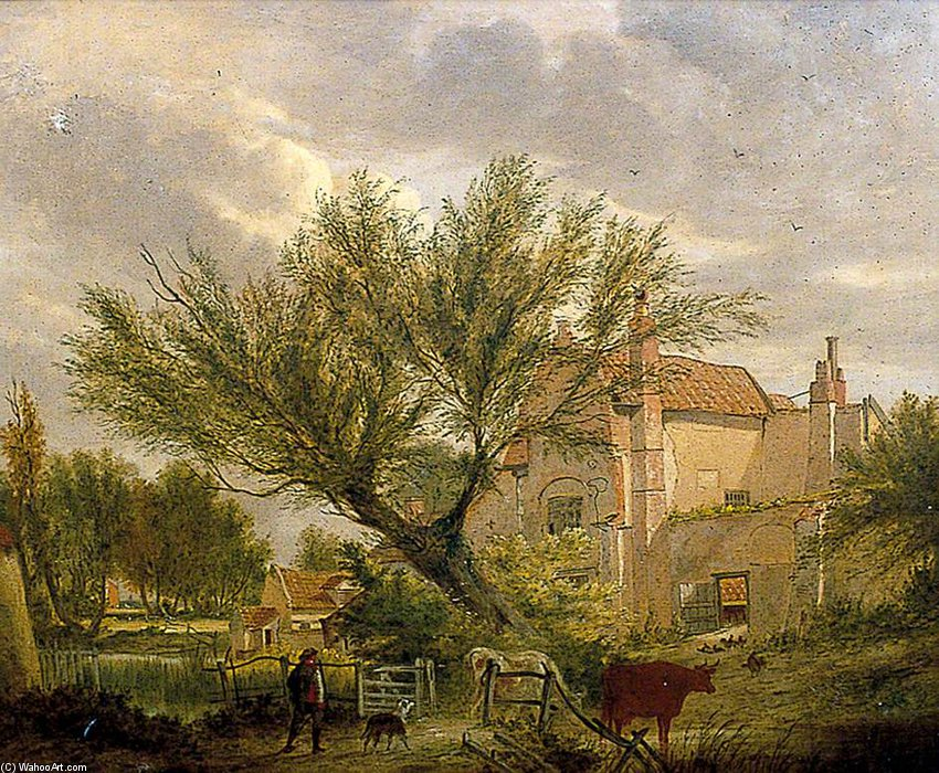 Trowse Hall Near Norwich by Alfred Stannard (1806-1889, United Kingdom) | Famous Paintings Reproductions | WahooArt.com