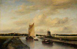 Antoine De Saaijer Waldorp - A Canal Near The Hague