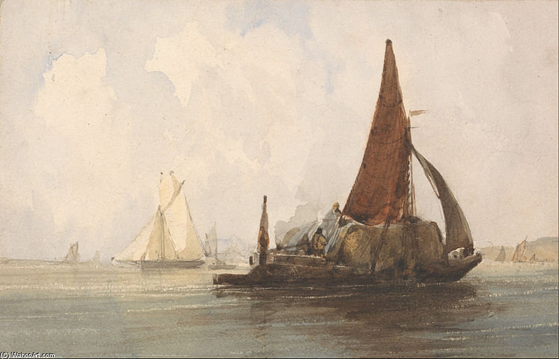 Hay Barge In A Calm Sea by Charles Bentley (1805-1854, United Kingdom)