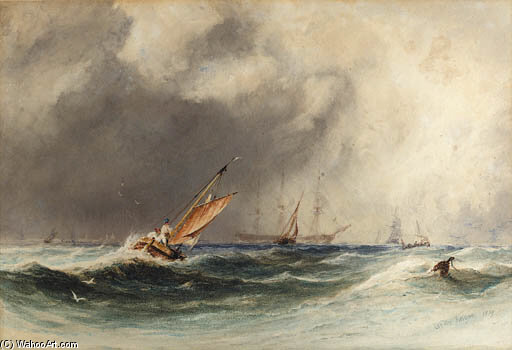 Order Famous Paintings Reproductions : Off Boulogne by Charles Bentley (1805-1854, United Kingdom) | WahooArt.com