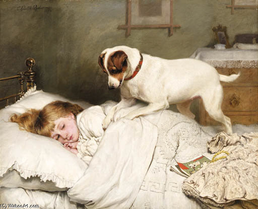 Time To Wake Up by Charles Burton Barber (1845-1894, United Kingdom)