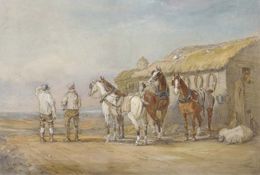 A Change Of Horses by Charles Cooper Henderson (1803-1877, United Kingdom)