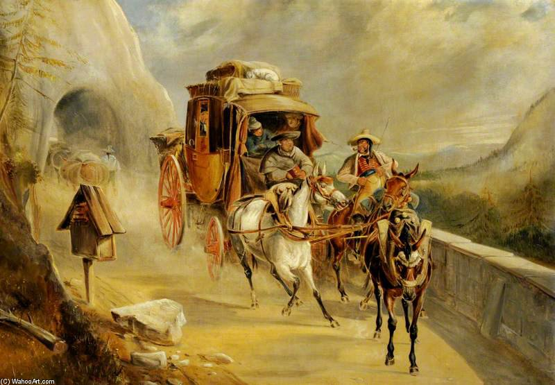 A Coach Scene On A Mountain Road by Charles Cooper Henderson (1803-1877, United Kingdom)