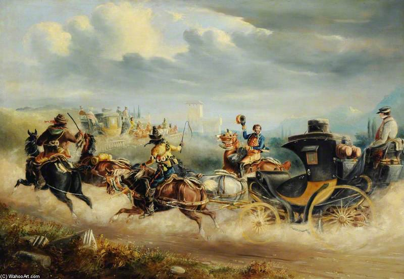 Coaches Attacked By Brigands On A Spanish Road by Charles Cooper Henderson (1803-1877, United Kingdom)