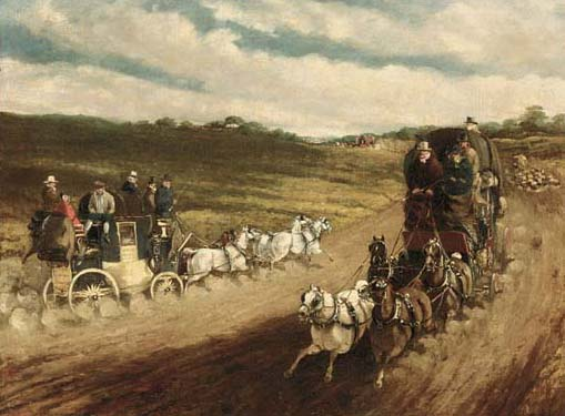 Coaches On A Road by Charles Cooper Henderson (1803-1877, United Kingdom)