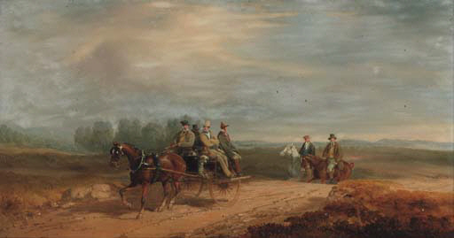 Figures In A Jaunting Car by Charles Cooper Henderson (1803-1877, United Kingdom)
