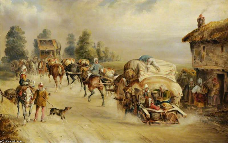 Laden Horse-drawn Wagons On The Road by Charles Cooper Henderson (1803-1877, United Kingdom)