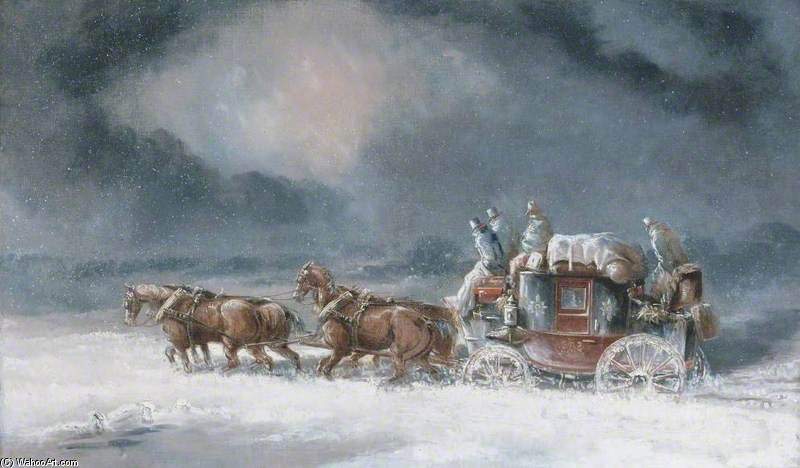 Mail Coach In A Snowstorm by Charles Cooper Henderson (1803-1877, United Kingdom)