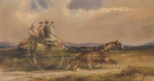 Charles Cooper Henderson - Sportsmen In Scottish Dress Driving To The Moors