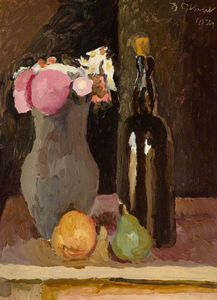 Duncan Grant - Still Life Of Flowers With Bottle And Fruit