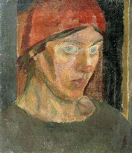 Duncan Grant - Vanessa Bell in a Red Headscarf