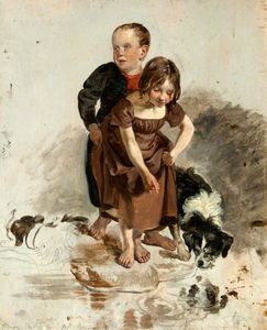 George Harvey - A Boy And A Girl With A Collie Dog Standing By A Stream (study For -the Covenanters- Baptism-)