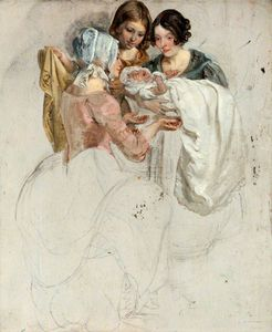 George Harvey - A Girl And Two Women, Standing And Holding A Baby