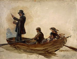 George Harvey - Reverend Thomas Guthrie, Preacher And Philanthropist With His Children, Patrick And Anne, Fishing On Lochlee