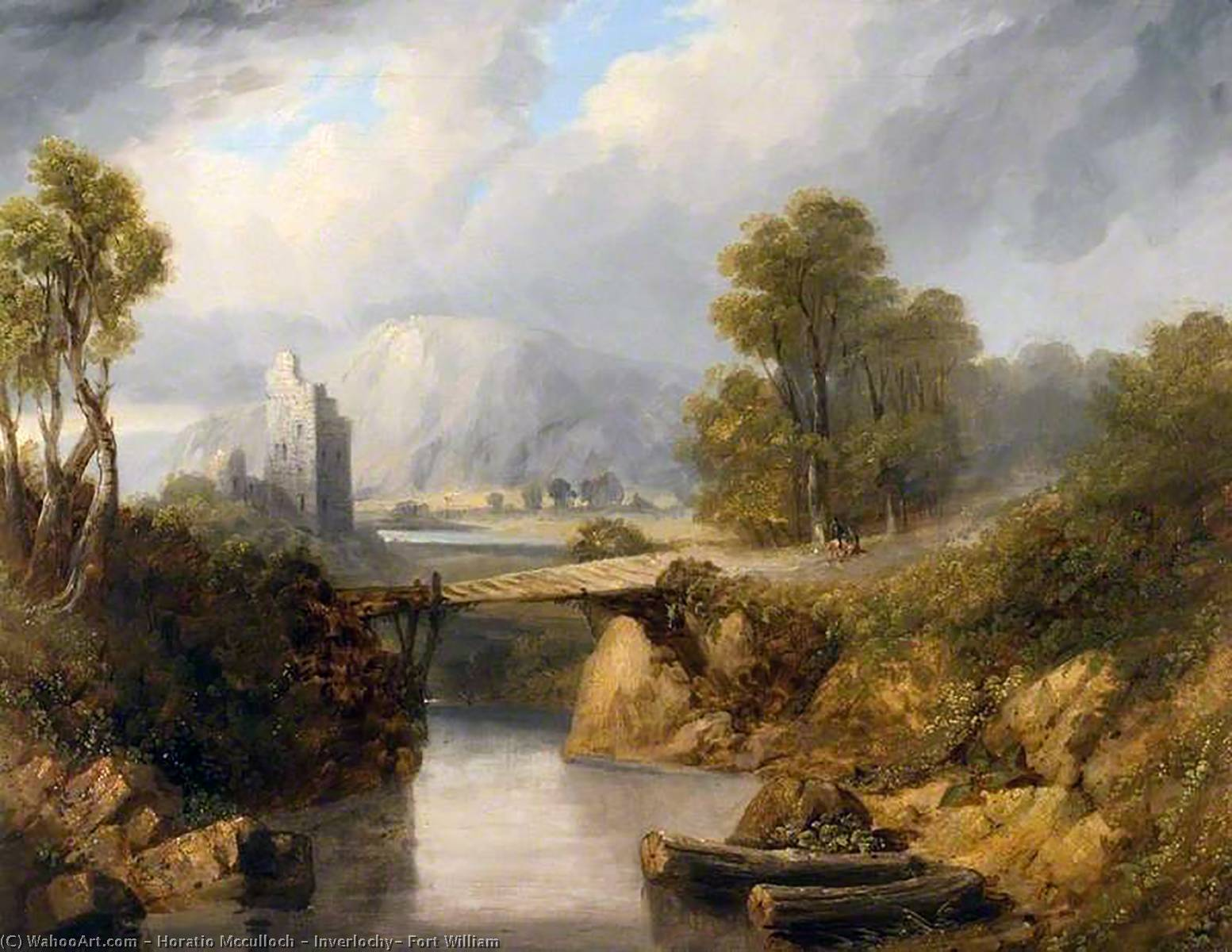 Inverlochy, Fort William by Horatio Mcculloch (1805-1867, United Kingdom) | Reproductions Horatio Mcculloch | WahooArt.com