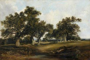 Horatio Mcculloch - Landscape With Oak Trees