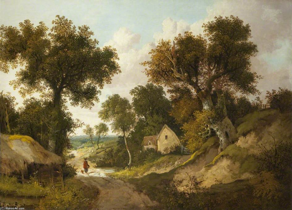 A Country Lane In Norfolk by John Berney Ladbrooke (1803-1879, United Kingdom) | WahooArt.com