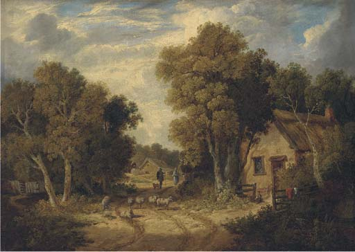 A Suffolk Lane by John Berney Ladbrooke (1803-1879, United Kingdom)