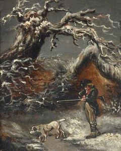John Berney Ladbrooke - A Winter Scene, With A Sportsman And A Dog