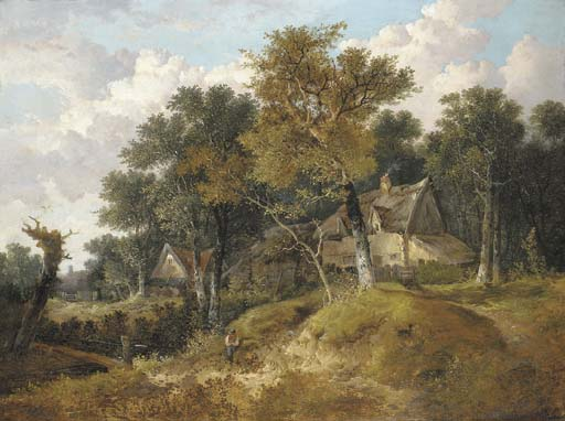 A Wooded Landscape With Cottages And A Figure Resting By A Stream by John Berney Ladbrooke (1803-1879, United Kingdom)