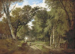 John Berney Ladbrooke - A Wooded Landscape With Figures Resting On A Track