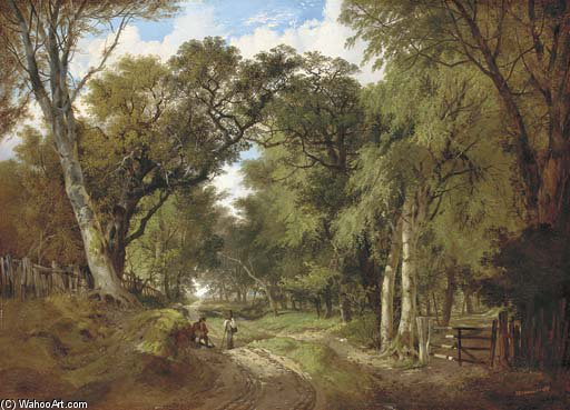 A Wooded Landscape With Figures Resting On A Track by John Berney Ladbrooke (1803-1879, United Kingdom) | Painting Copy | WahooArt.com