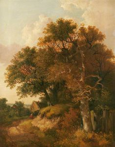 John Berney Ladbrooke - Cottage And Trees
