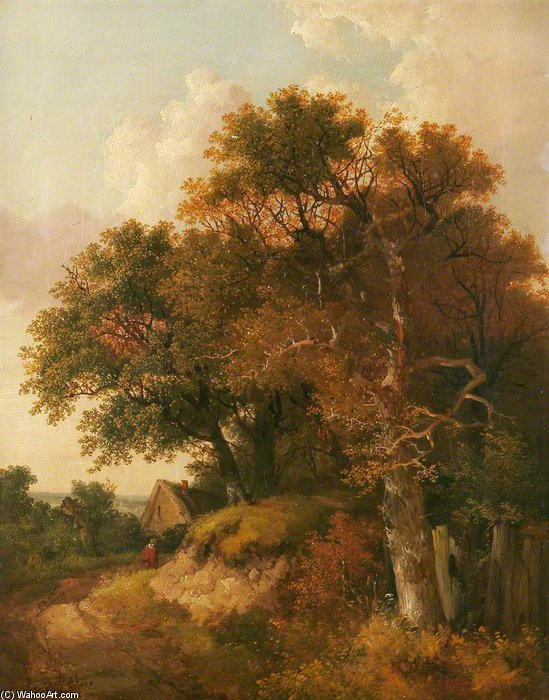 Cottage And Trees by John Berney Ladbrooke (1803-1879, United Kingdom)