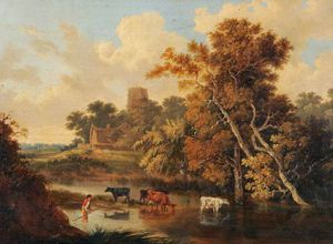 John Berney Ladbrooke - Cows In A Woodland Pool