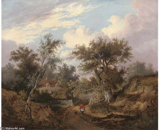 Figure By A Cottage In A Wooded Landscape by John Berney Ladbrooke (1803-1879, United Kingdom)
