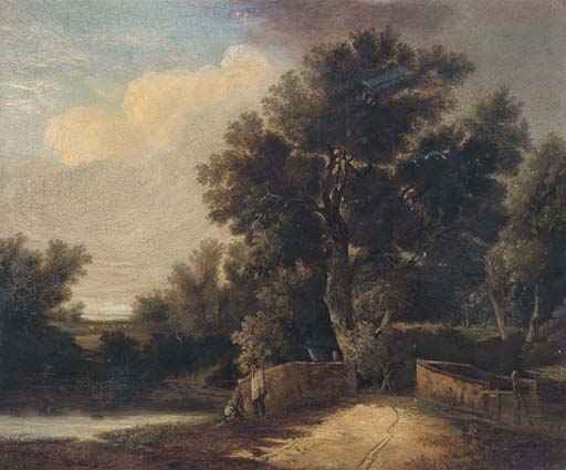 Figures By A Bridge In A Wooded Landscape by John Berney Ladbrooke (1803-1879, United Kingdom)