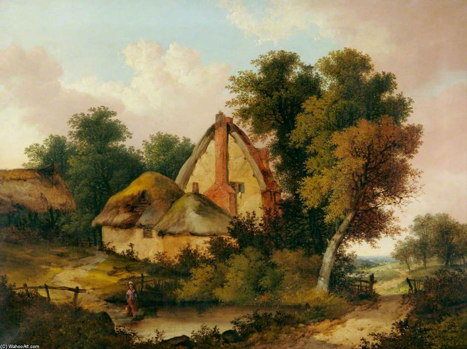 Landscape With A Thatched Cottage And A Pond In Foreground by John Berney Ladbrooke (1803-1879, United Kingdom)
