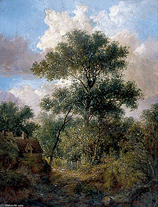 Landscape With A Woodland Path And Cottage by John Berney Ladbrooke (1803-1879, United Kingdom) | Art Reproduction | WahooArt.com