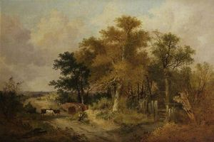 John Berney Ladbrooke - Landscape With Figures And Cattle