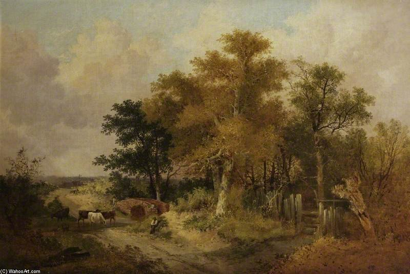 Landscape With Figures And Cattle by John Berney Ladbrooke (1803-1879, United Kingdom) | Painting Copy | WahooArt.com