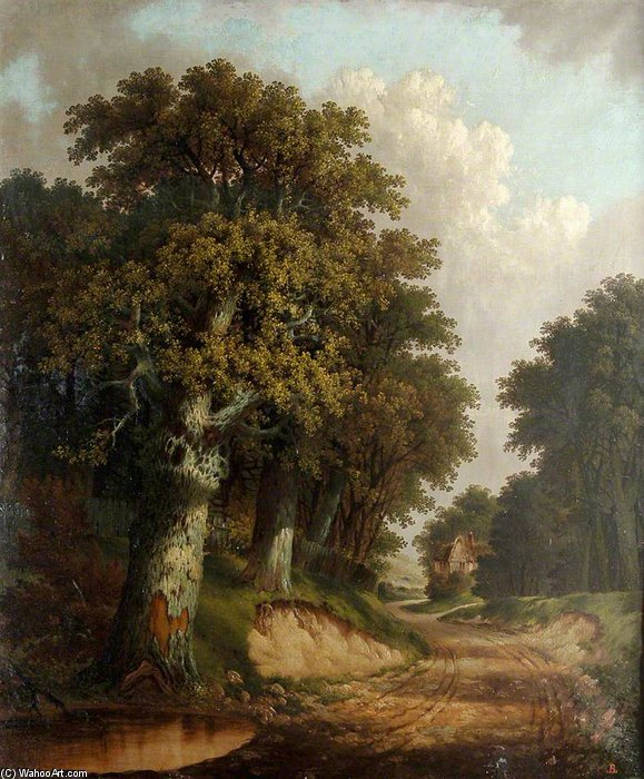 Landscape With Trees, Cottage, Winding Lane And Pond by John Berney Ladbrooke (1803-1879, United Kingdom)