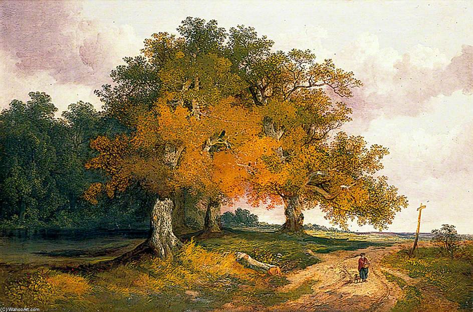 Pollard Oaks by John Berney Ladbrooke (1803-1879, United Kingdom) | Museum Quality Reproductions | WahooArt.com