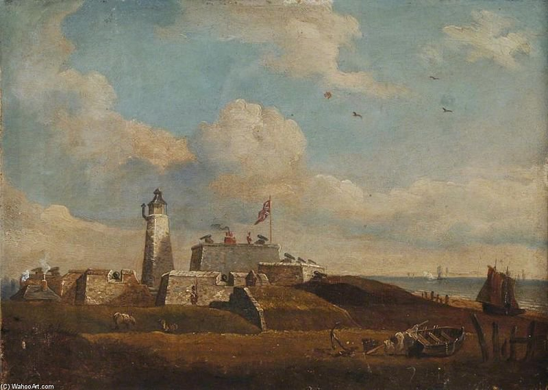 Southsea Castle - by John Berney Ladbrooke (1803-1879, United Kingdom)