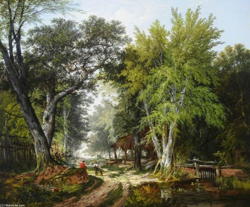 Spring Morning In The Park by John Berney Ladbrooke (1803-1879, United Kingdom) | Painting Copy | WahooArt.com